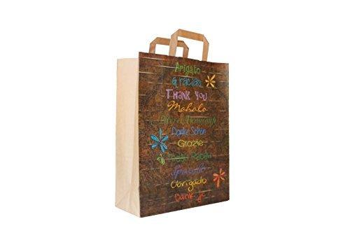 Papiertragetaschen mit Flachhenkel braun 80 g/qm Motiv: Danke in 11 Sprachen 26 + 12 x 35 cm (50 Stück)