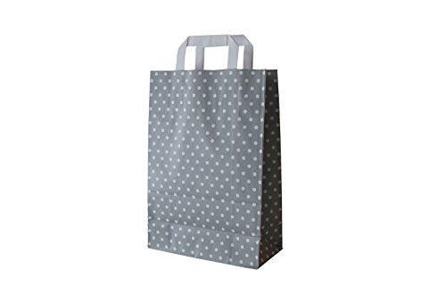 Papiertragetaschen mit Flachhenkel Punkte GRAU (32 + 12 x 40 cm, 50 Stück)