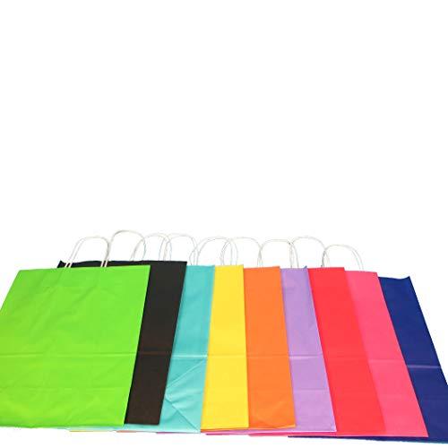Pro DP 250-350 Papiertragetaschen Papiertüten Einkaufstüten farbig bunt mit Kordel Henkel 9 5 Größen zur Auswahl (22+10x28cm, Grün)