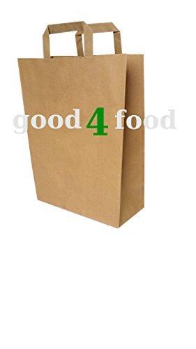 250 Papiertragetaschen Papiertüte in braun 32+16x44 cm - good4food