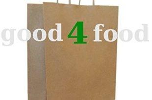 50 Papiertragetaschen mit Kordel - Kordeltragetasche in braun 22+10x28 cm - good4food