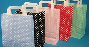 250 Papiertragetaschen Papiertueten Einkaufstueten Papier farbig bunt mit weissen Punkten 310x165 - 250 Papiertragetaschen Papiertüten Einkaufstüten Papier farbig bunt mit weißen Punkten Made in Germany 5 3 Verschiedene Größen zur Auswahl (Rot, 22+11x31cm)