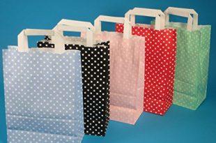 250 Papiertragetaschen Papiertüten Einkaufstüten Papier farbig bunt mit weißen Punkten Made in Germany 5 3 Verschiedene Größen zur Auswahl (Rot, 22+11x31cm)