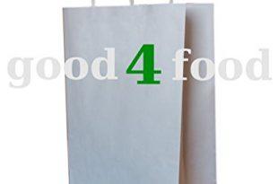 250 Papiertragetaschen mit Kordel - Kordeltragetasche in weiß 22+10x28 cm - good4food